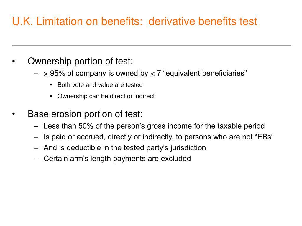 U.K. Limitation on benefits:  derivative benefits test