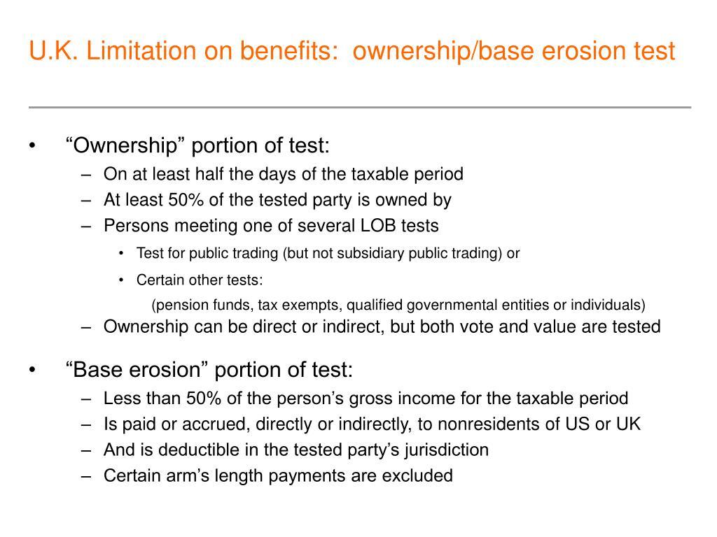 U.K. Limitation on benefits:  ownership/base erosion test