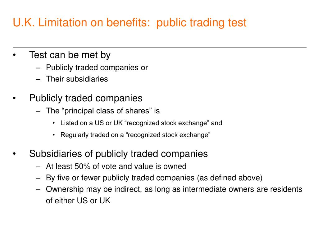 U.K. Limitation on benefits:  public trading test