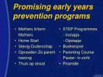 promising early years prevention programs