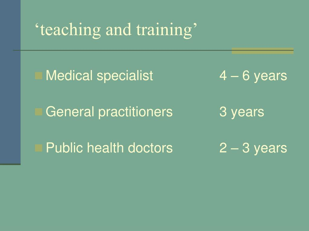 'teaching and training'