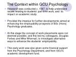 the context within gcu psychology