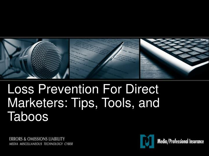loss prevention for direct marketers tips tools and taboos n.