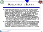 reasons from a student