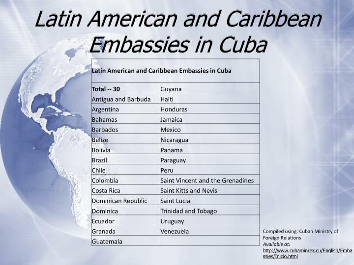 Latin american and caribbean embassies in cuba