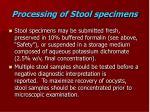processing of stool specimens