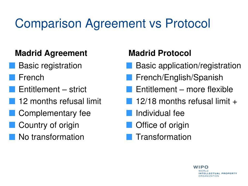 Comparison Agreement vs Protocol
