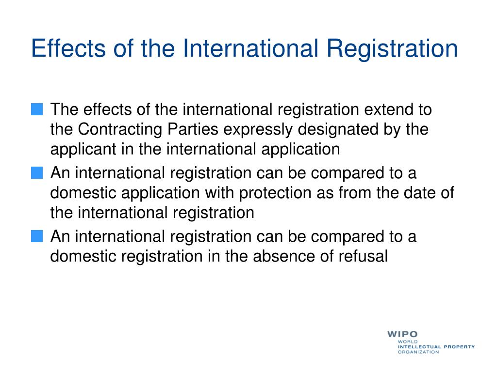 Effects of the International Registration