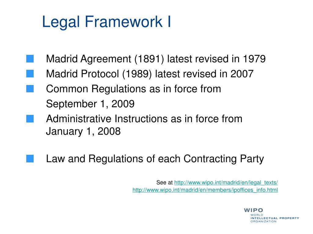 Legal Framework I