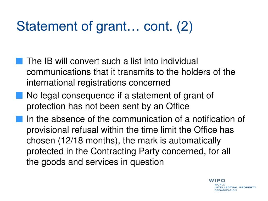 Statement of grant… cont. (2)