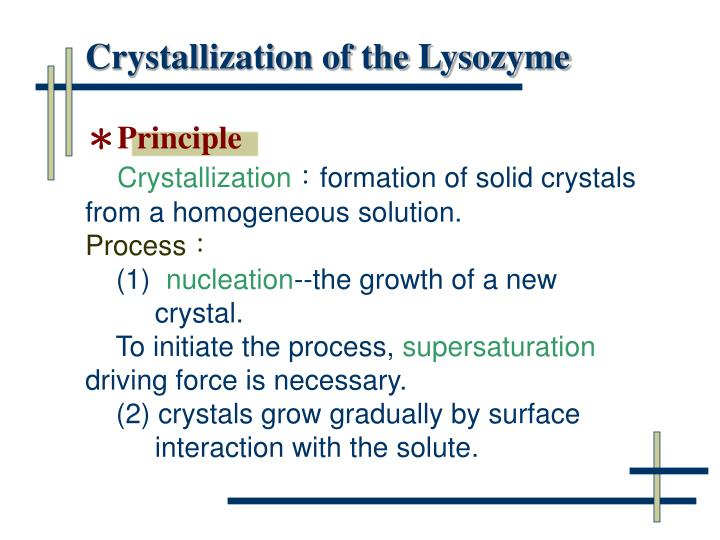 Crystallization of the Lysozyme