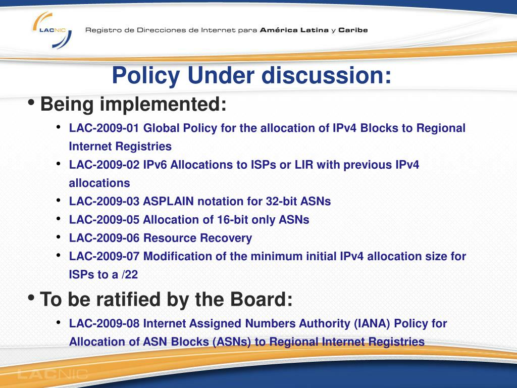 Policy Under discussion:
