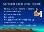 computer based anae record