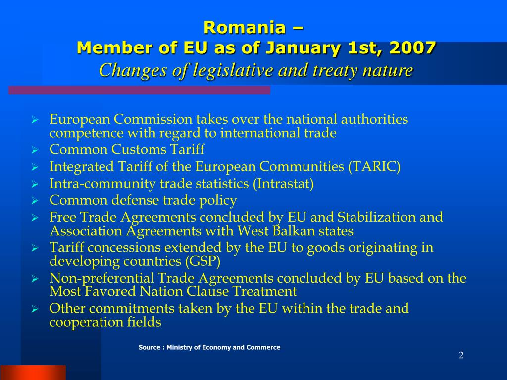 European Commission takes over the national authorities competence with regard to international trade