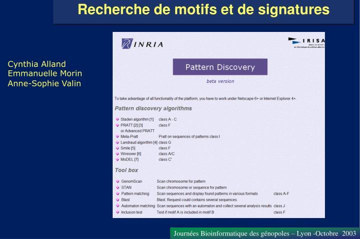 Recherche de motifs et de signatures
