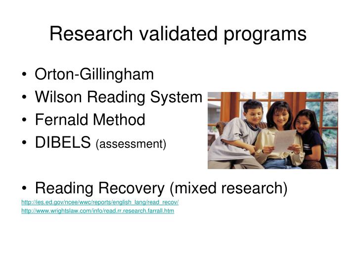 Research validated programs