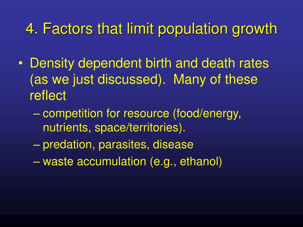 4. Factors that limit population growth