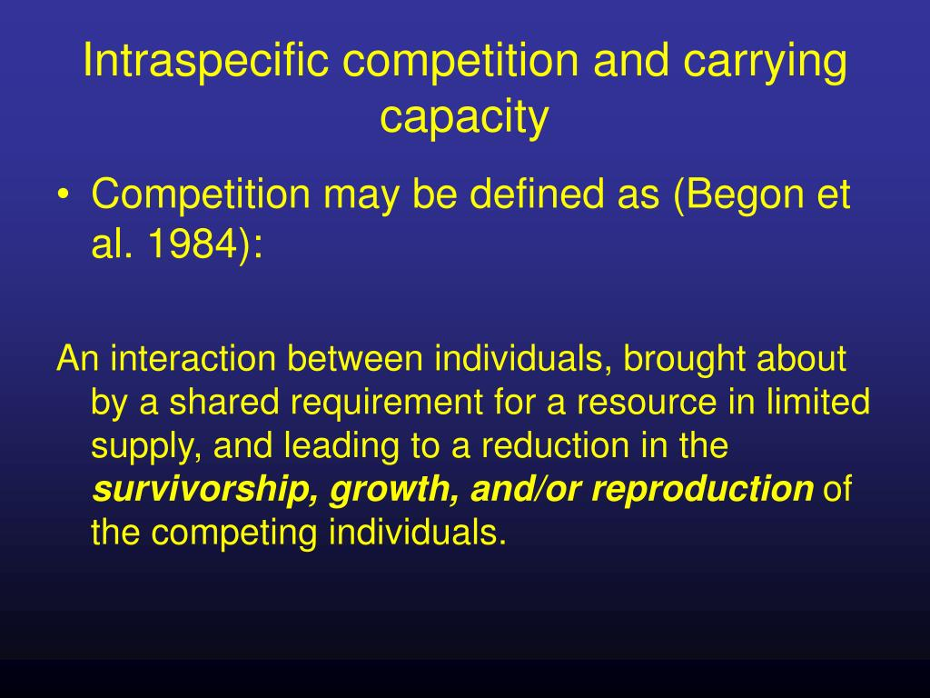Intraspecific competition and carrying capacity