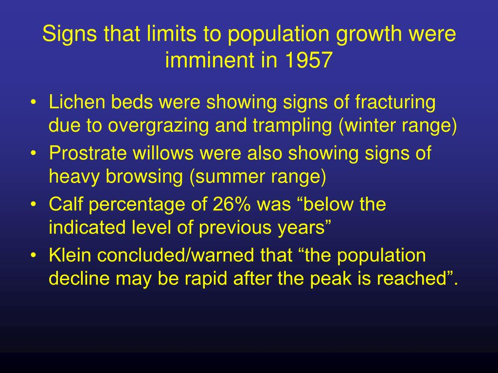 Signs that limits to population growth were imminent in 1957