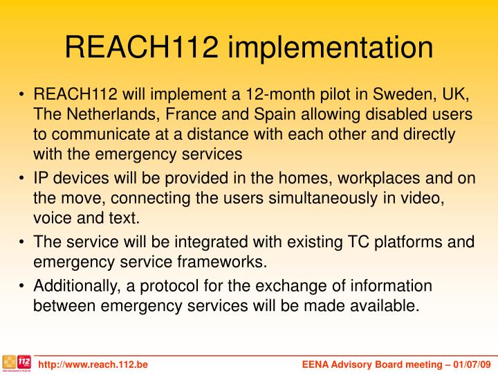 REACH112 implementation