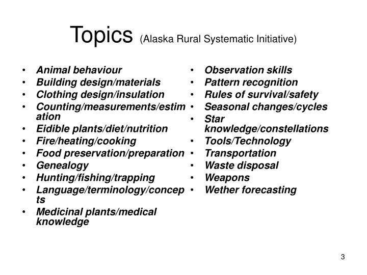 Topics alaska rural systematic initiative