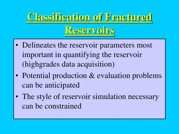 classification of fractured reservoirs n.