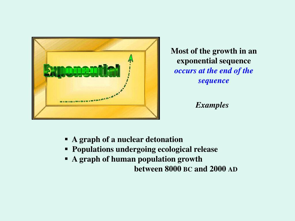 Most of the growth in an exponential sequence