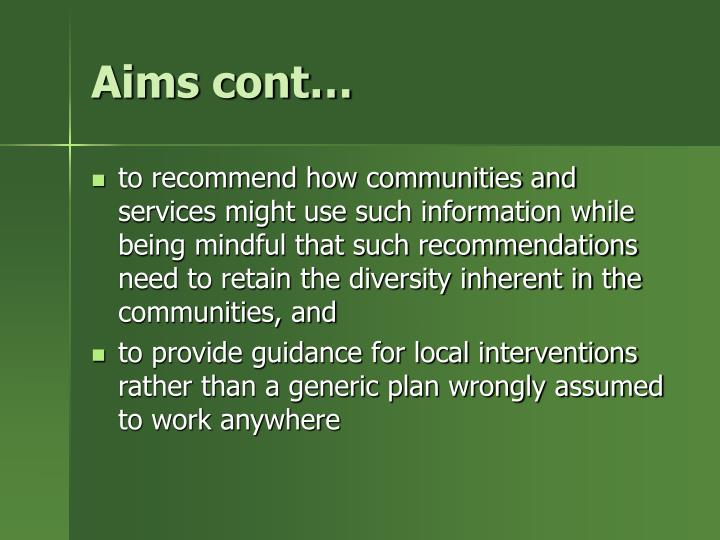 Aims cont…