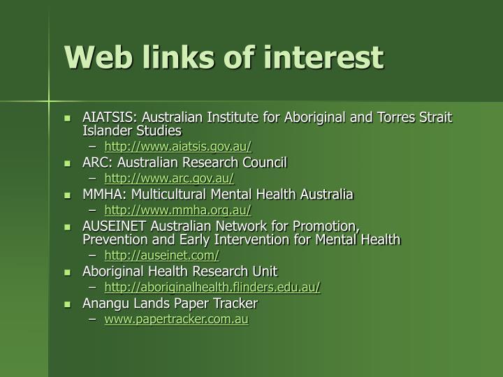 Web links of interest