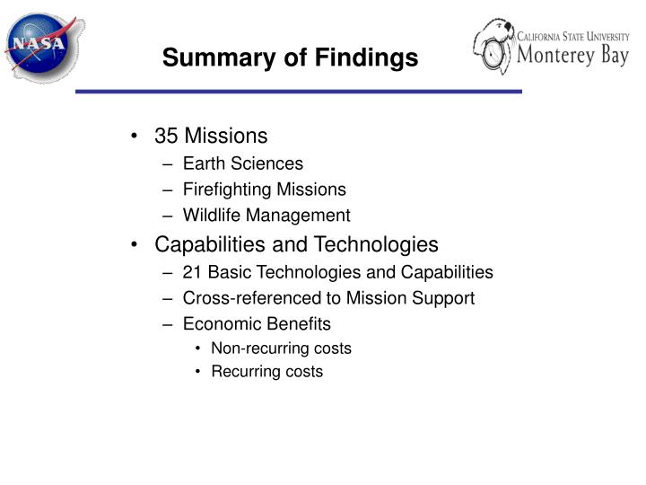 Summary of Findings