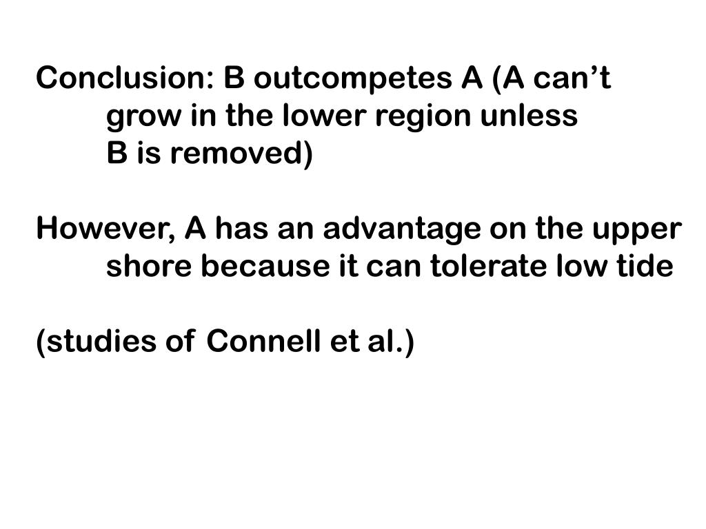Conclusion: B outcompetes A (A can't