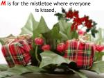 m is for the mistletoe where everyone is kissed