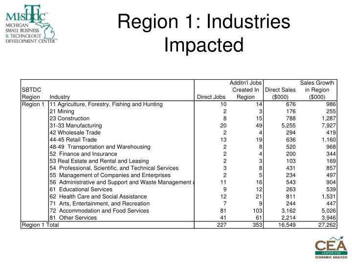 Region 1: Industries Impacted