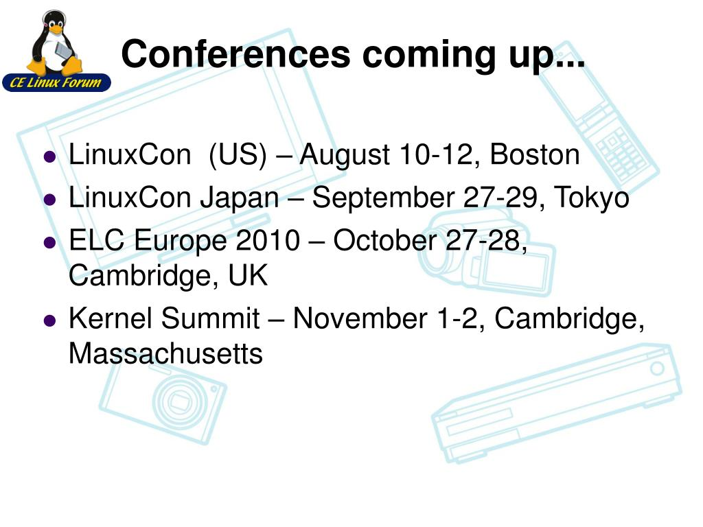 Conferences coming up...