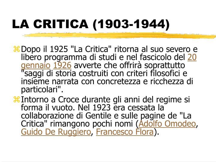 LA CRITICA (1903-1944)