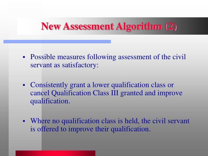 New Assessment Algorithm (2)