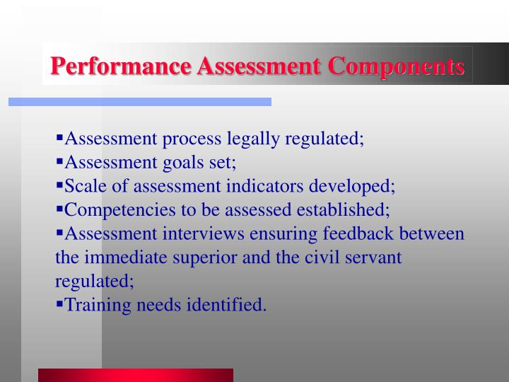 Performance Assessment Components