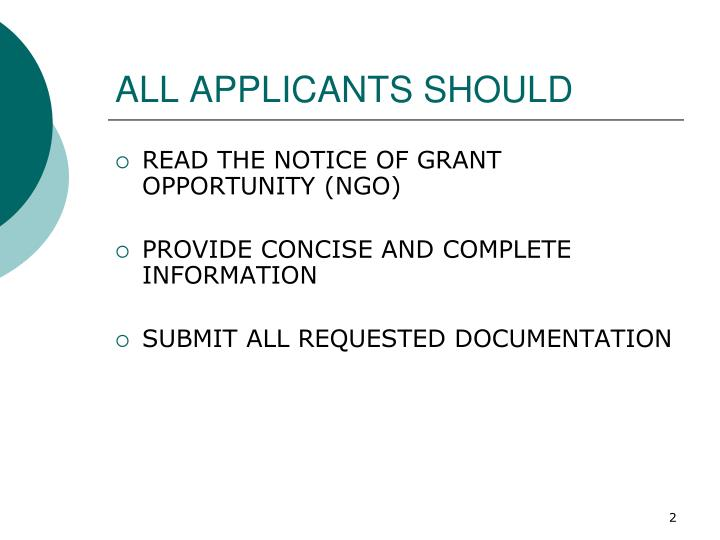 All applicants should
