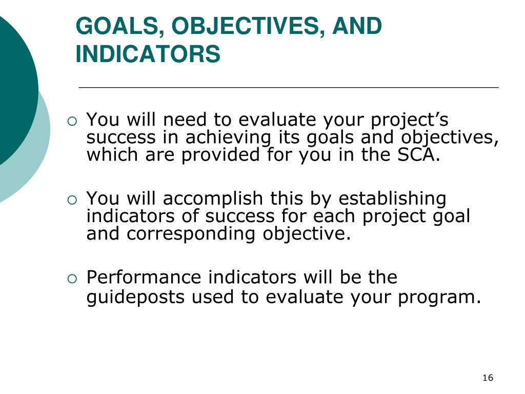 GOALS, OBJECTIVES, AND INDICATORS