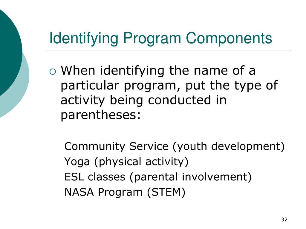 Identifying Program Components