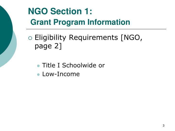 Ngo section 1 grant program information