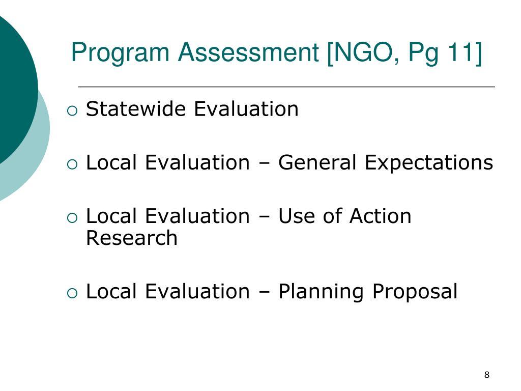 Program Assessment [NGO, Pg 11]