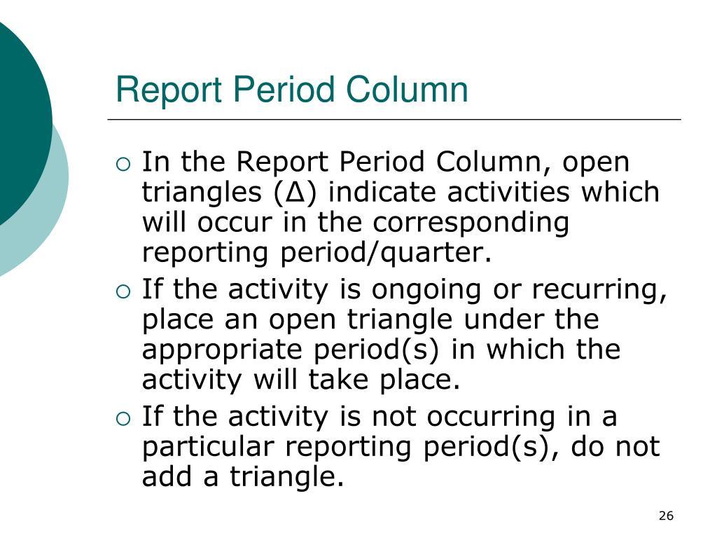 Report Period Column