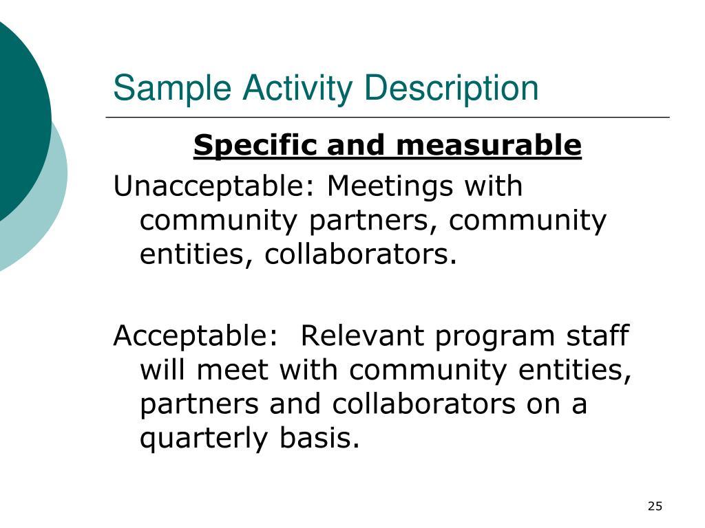 Sample Activity Description