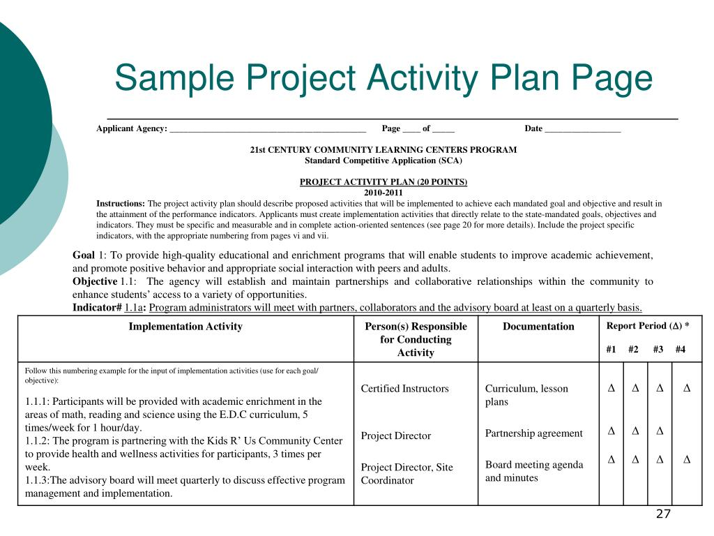 Sample Project Activity Plan Page