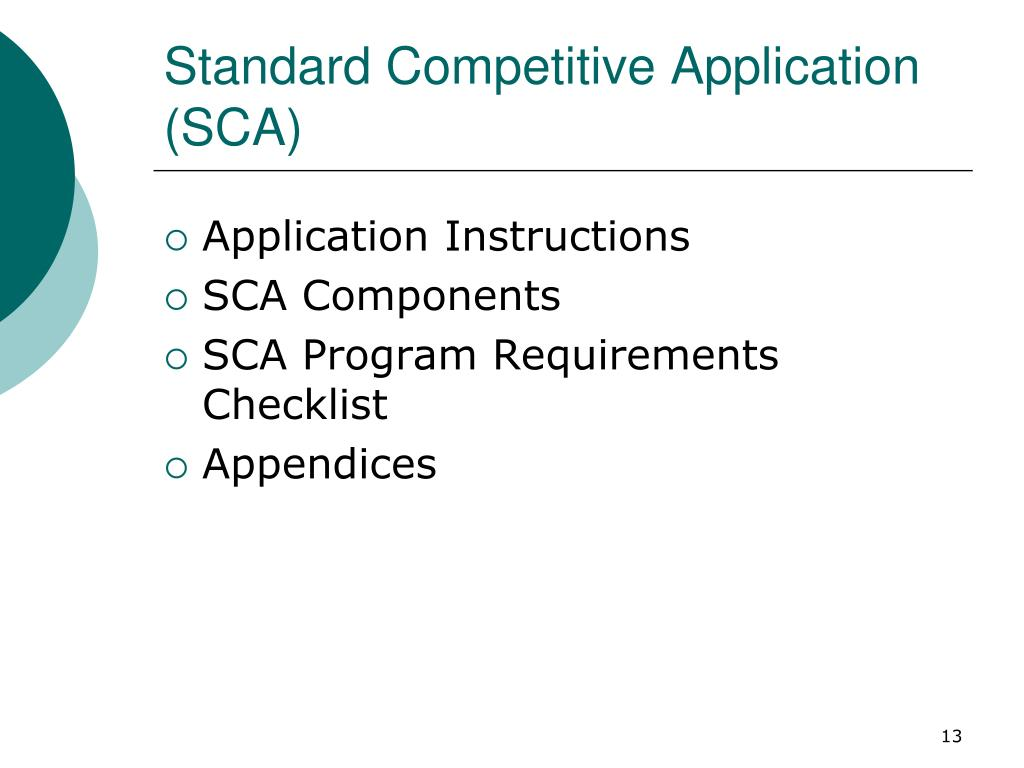 Standard Competitive Application (SCA)