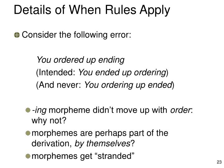 Details of When Rules Apply