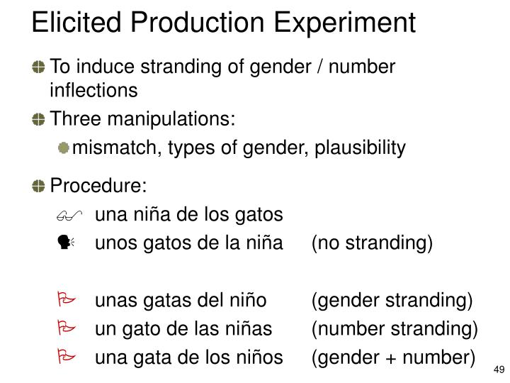 Elicited Production Experiment