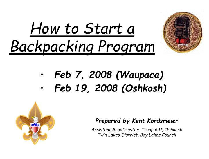 how to start a backpacking program n.