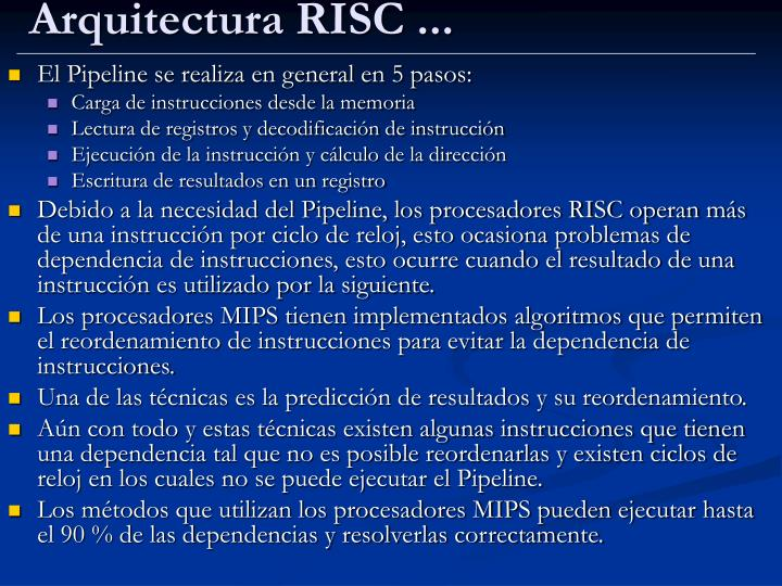 Arquitectura RISC ...